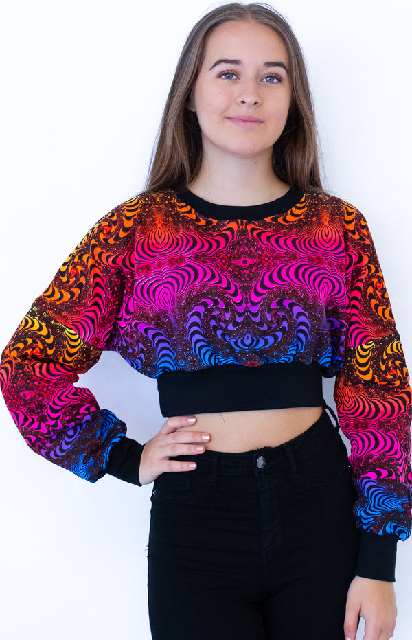 Cropped Sweat : Rainbow Fractal