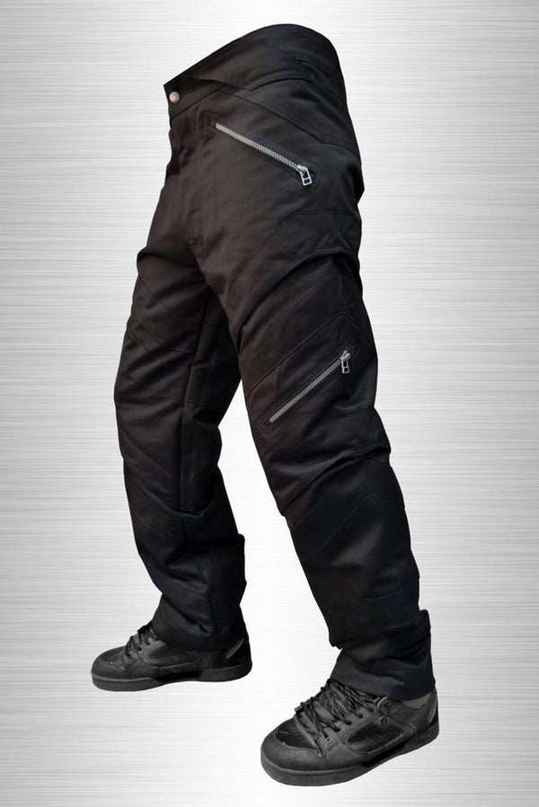 Black mens trousers with zipped pockets