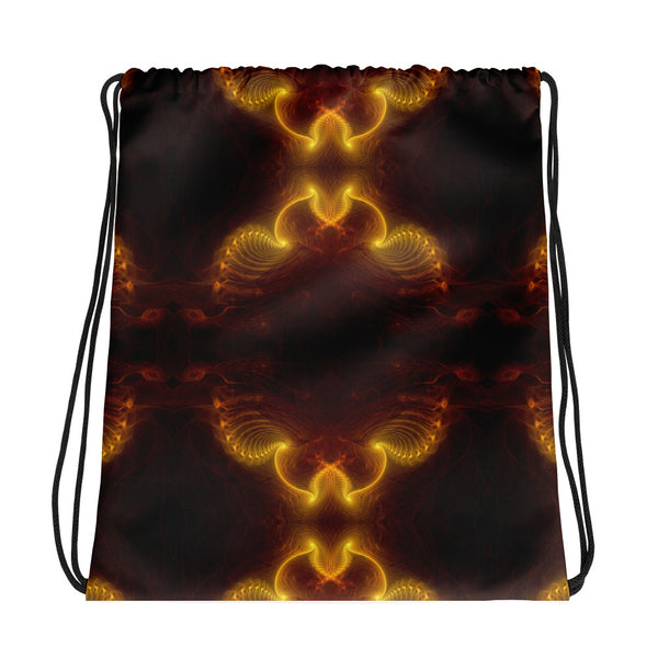 Yellow Fractal Drawstring bag