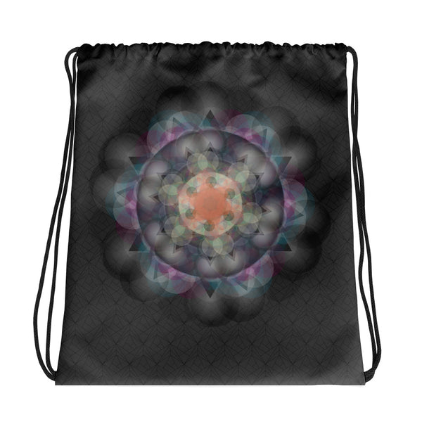 Black Mandala Drawstring bag