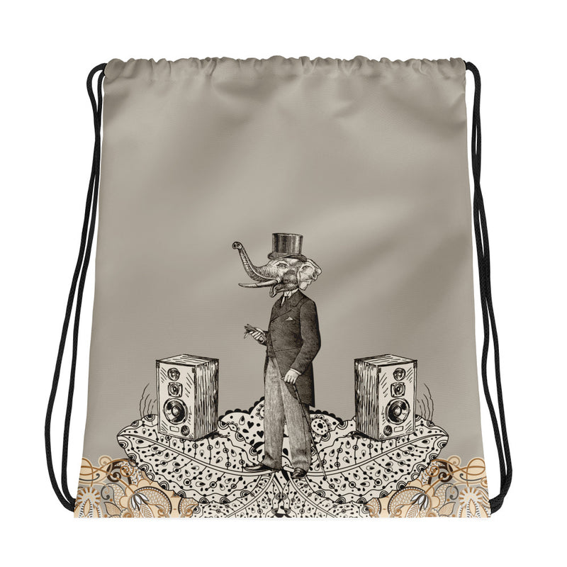 Vintage Psy Elephant Drawstring bag