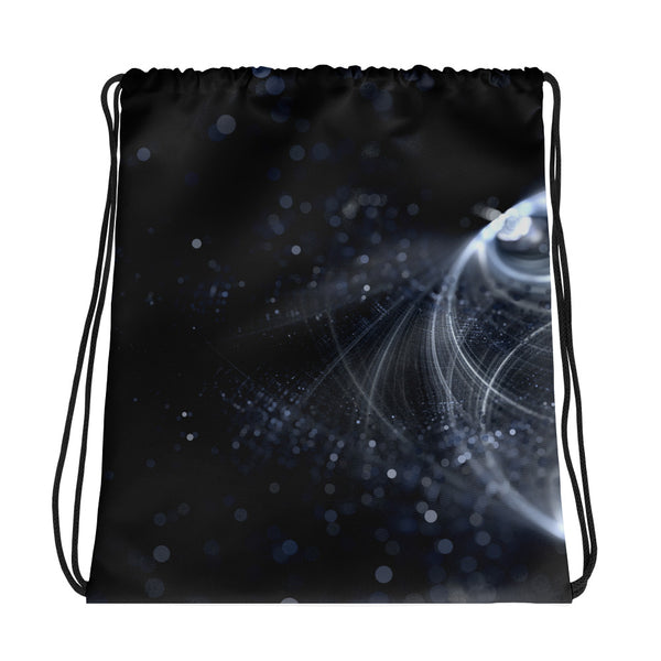 White Fractal Drawstring bag