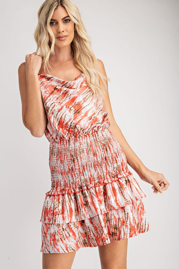 Coral Printed Cowl Neck Smocked Dress