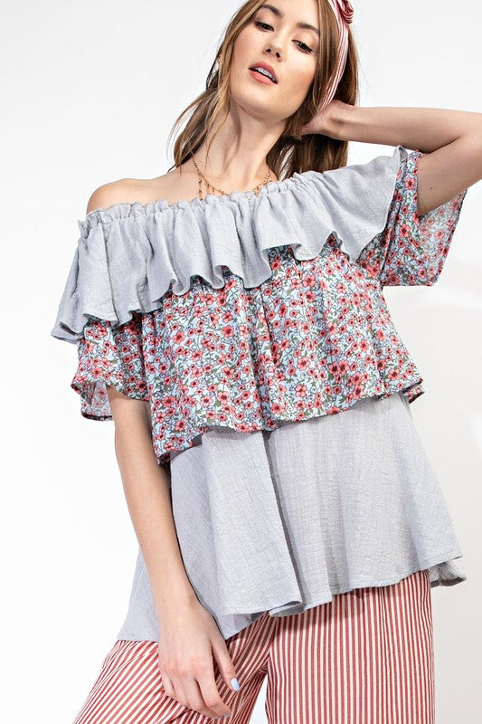 Evelyn Floral Ruffle Top