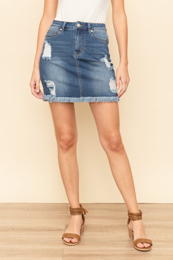 Maggie Distressed Denim Skirt
