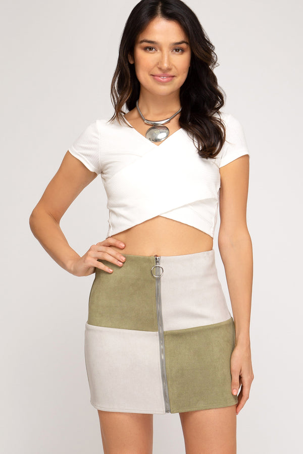 Blocked with Color Suede Skirt