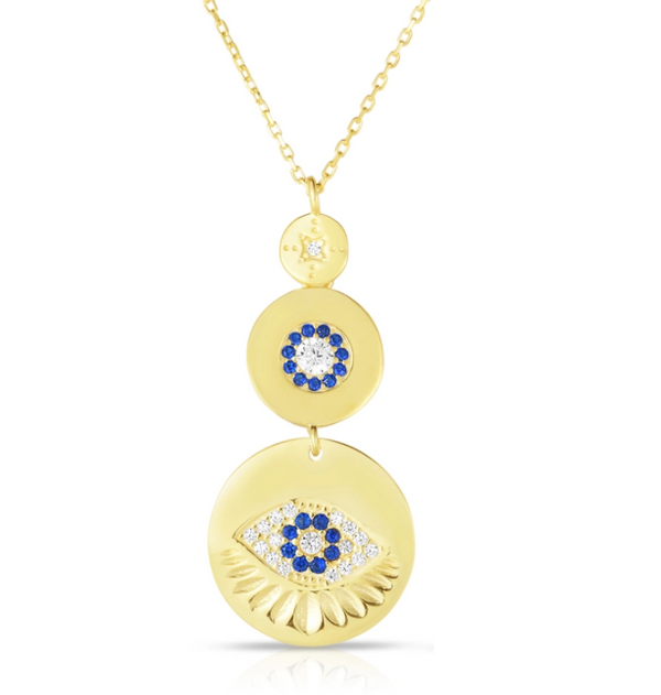 18K Gold Plated Sterling Silver Evil Eye Y Necklace