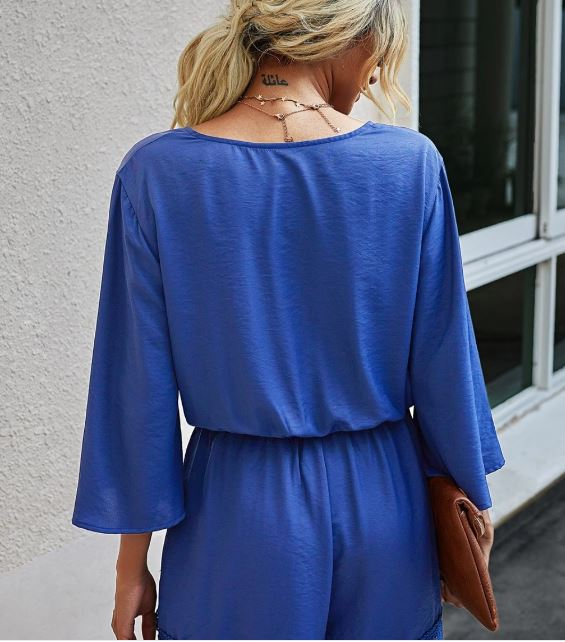 Royal Blue Crochet Trim Romper