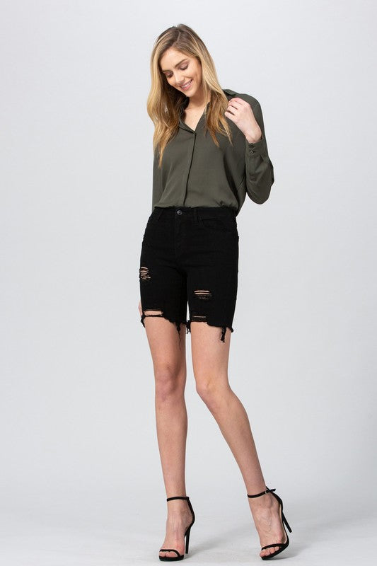 Black Denim Distressed Bermuda Short