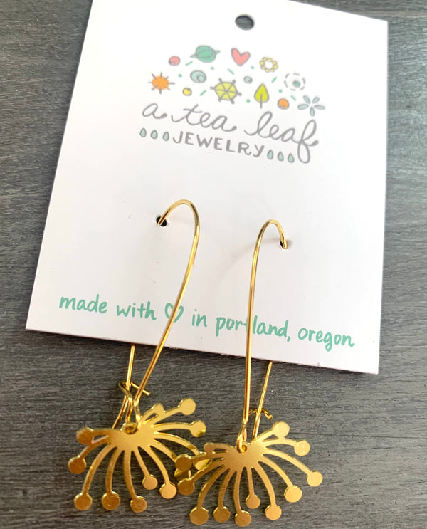 Dandelion Fluff Earrings Gold
