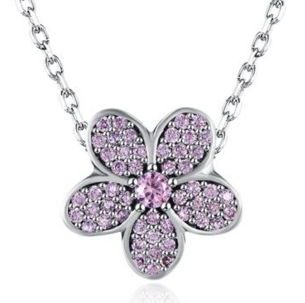 Sterling Silver Pink Pave Floral Charm Necklace