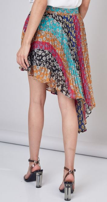 Botanical Stripe Asymmetrical Skirt