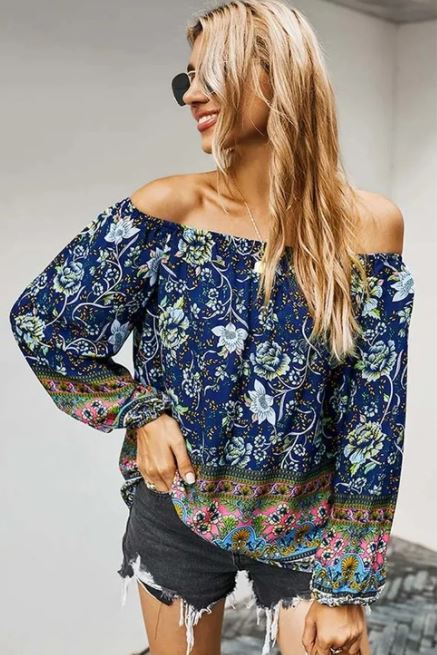 Royal Floral Printing Off Shoulder Blouse