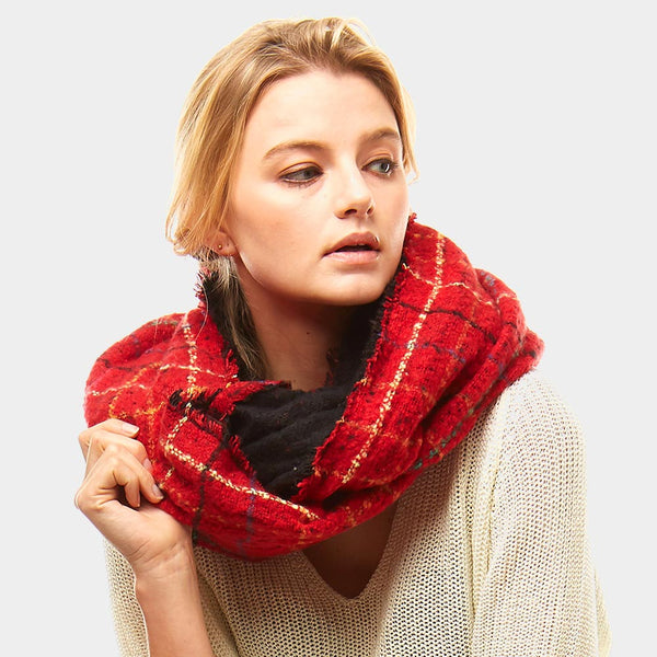 Red Multi Color Windowpane infinity Scarf