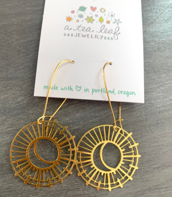 Sun and Moon Earrings Gold