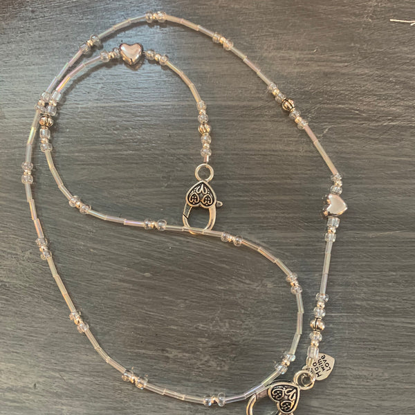 Beaded Clear and Antique Silver Heart