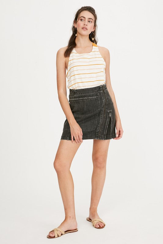 High Rise Charcoal Moto Skirt