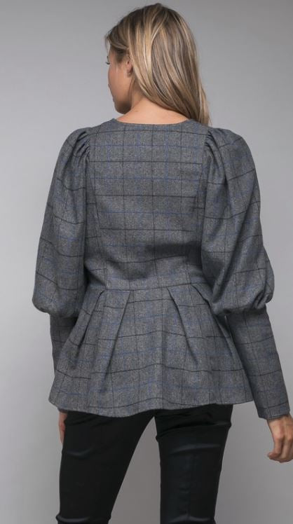 Elaine Plaid Peplum Jacket