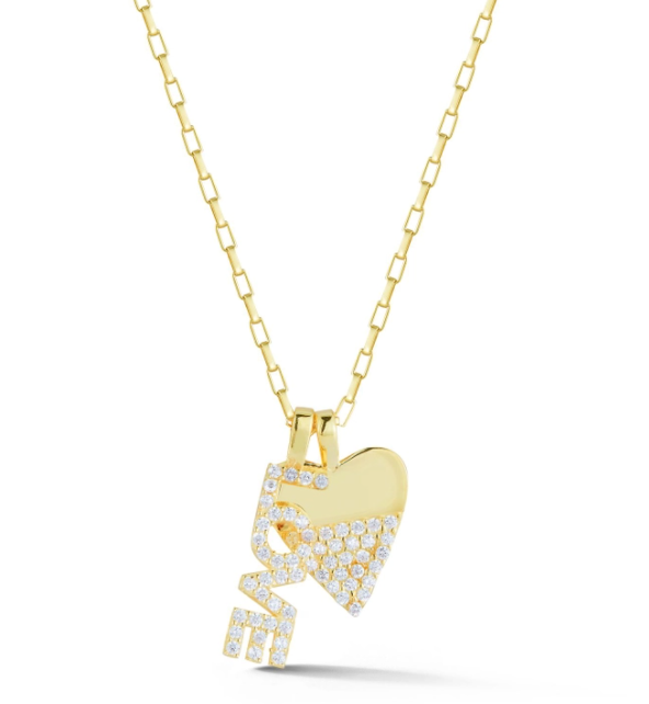 Love & Heart Charm Necklace Pendant Yellow Gold