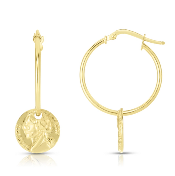 14K Gold Plated Sterling Silver Coin Charm Hoops