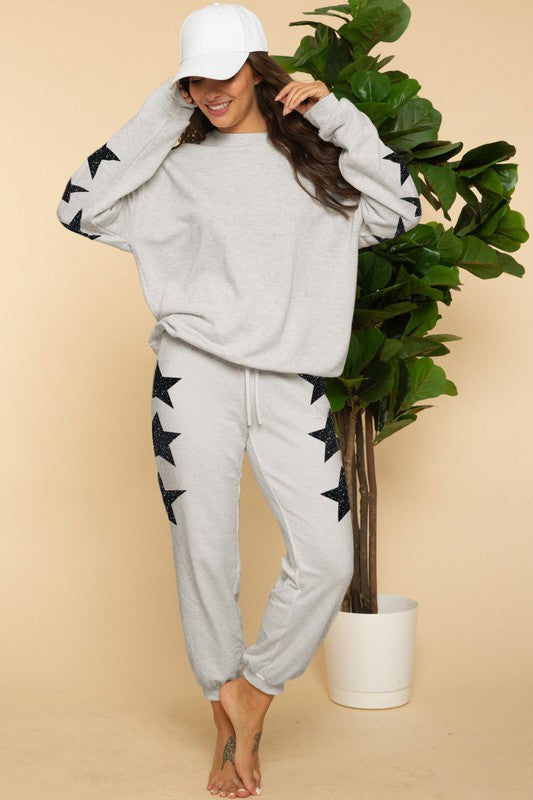 Star Glitter Print Jogger- Heather Gray