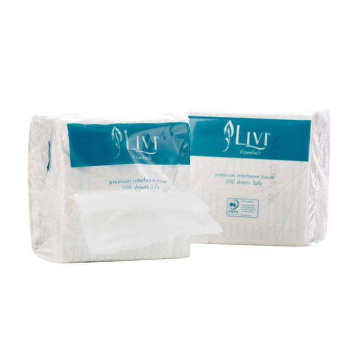 Livi Essentials Interleaved Toilet Tissue 2Ply 200 Sheets Carton 36