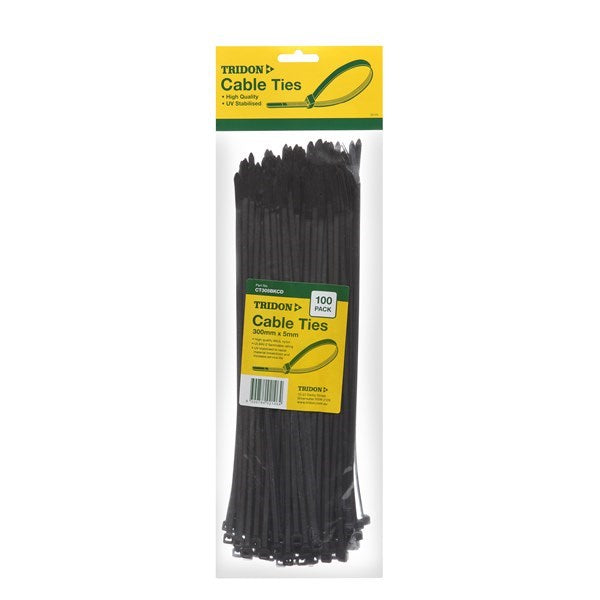 TRIDON CABLE TIE BLACK 300 X 5MM PK25