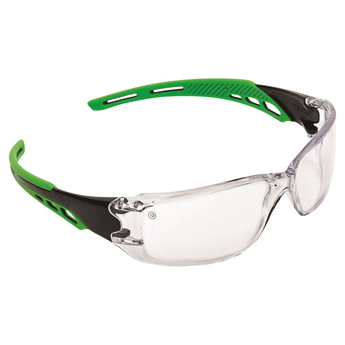 Cirrus Green Arms Safety Glasses Clear A/F Lens