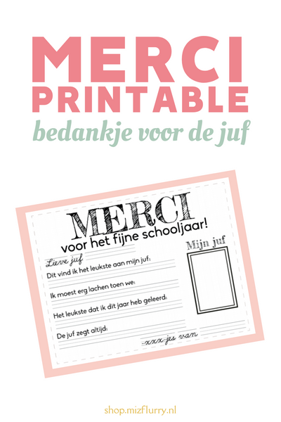 Merci printable - voor de juf of meester
