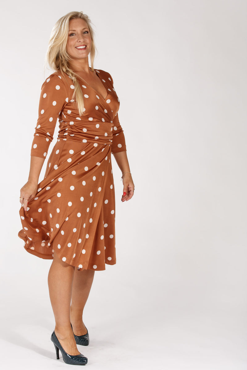 Milan dress - Brown w dots