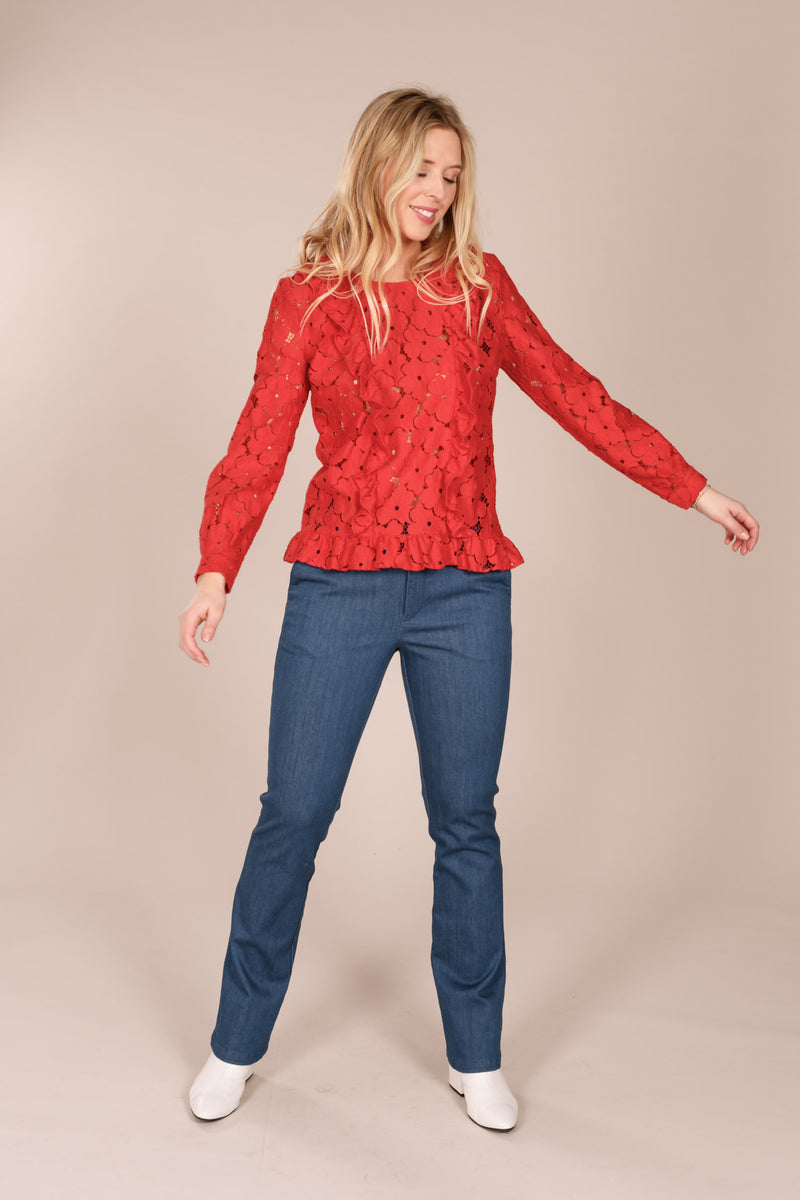 Lavinia lace top - Red