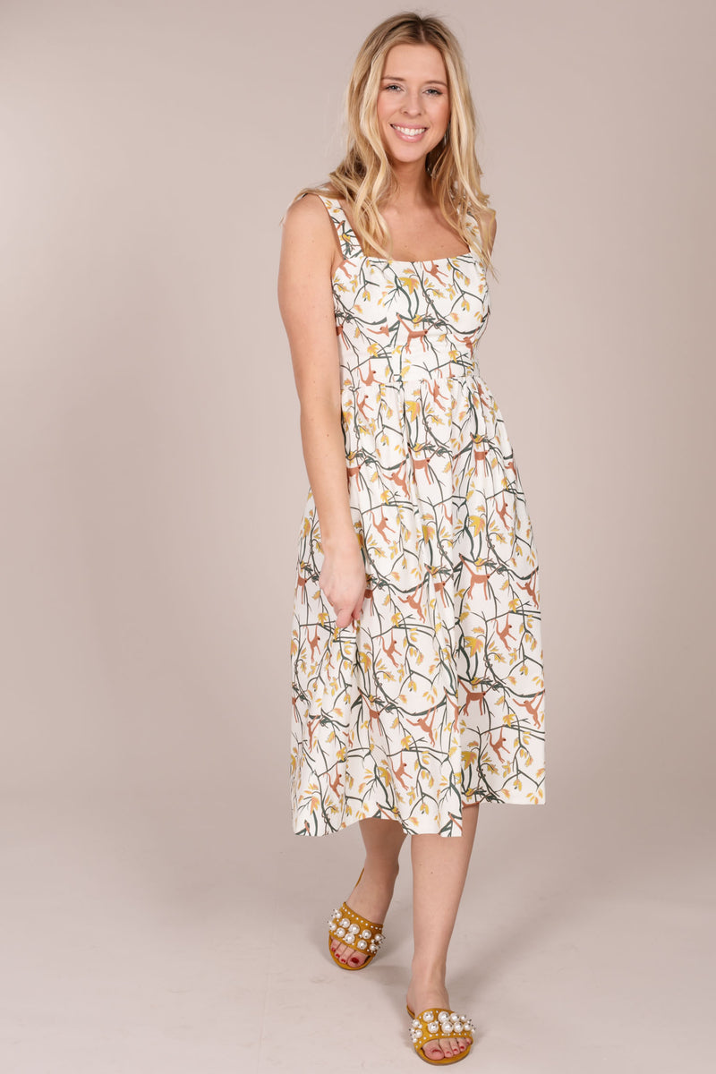 Paula print strap dress - Offwhite