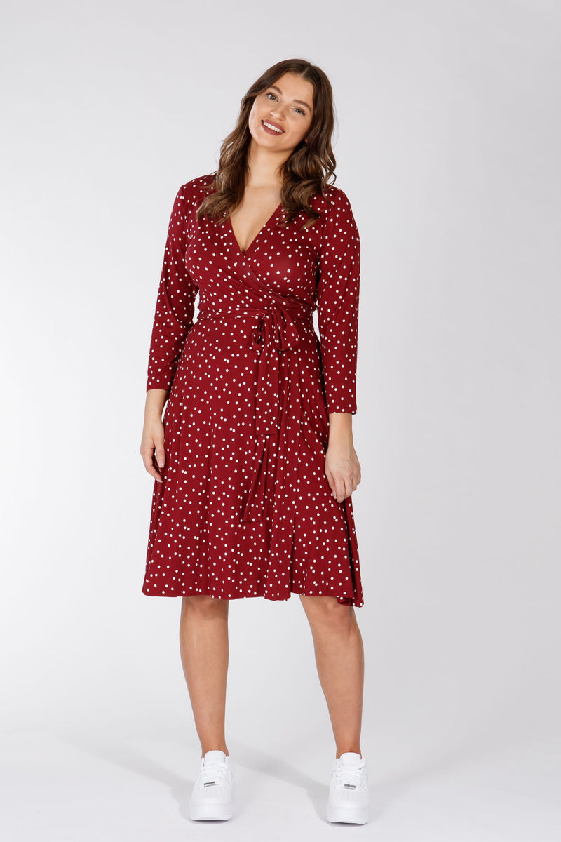 Malin dress - Dark red dot