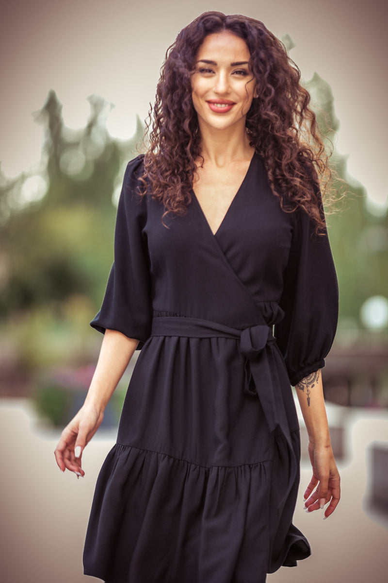 Maggie short wrap dress - Black