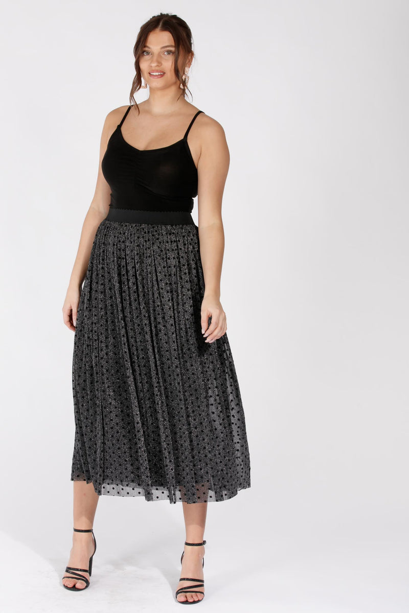 Glam dot skirt - Black