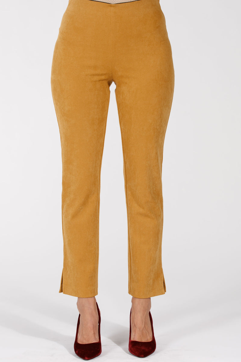 Suede twill stretch pants - Mustard