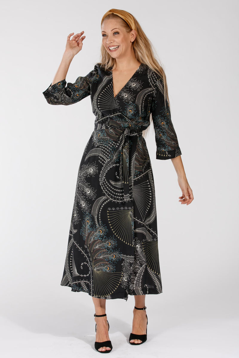 Mandy long wrap dress - Black