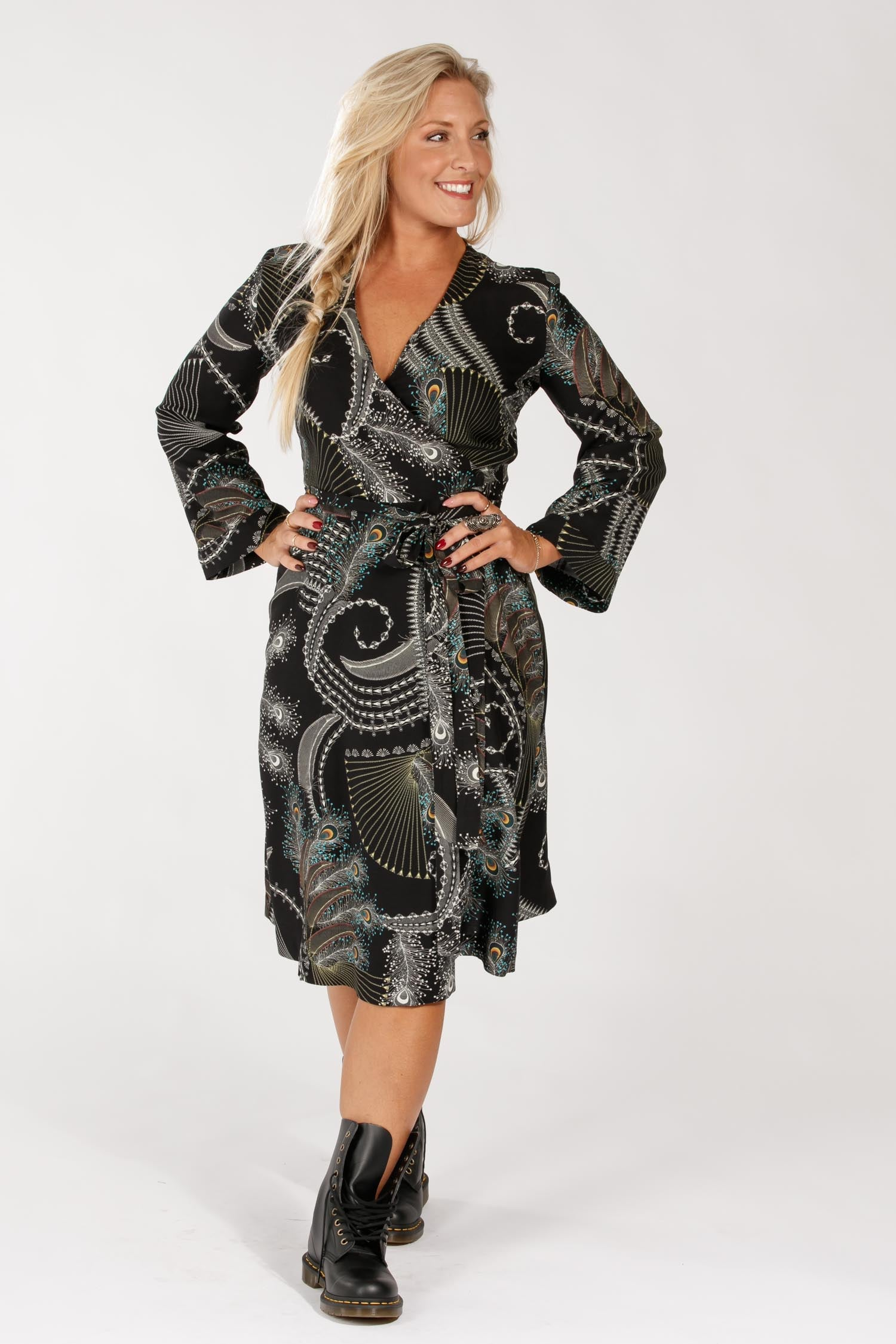 Mandy short wrap dress - Black