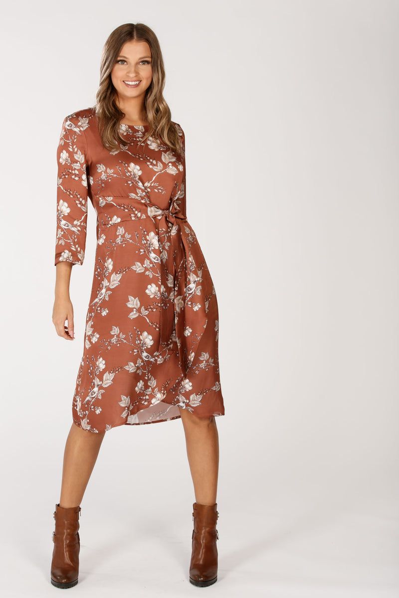 Melika tie dress - Nougat