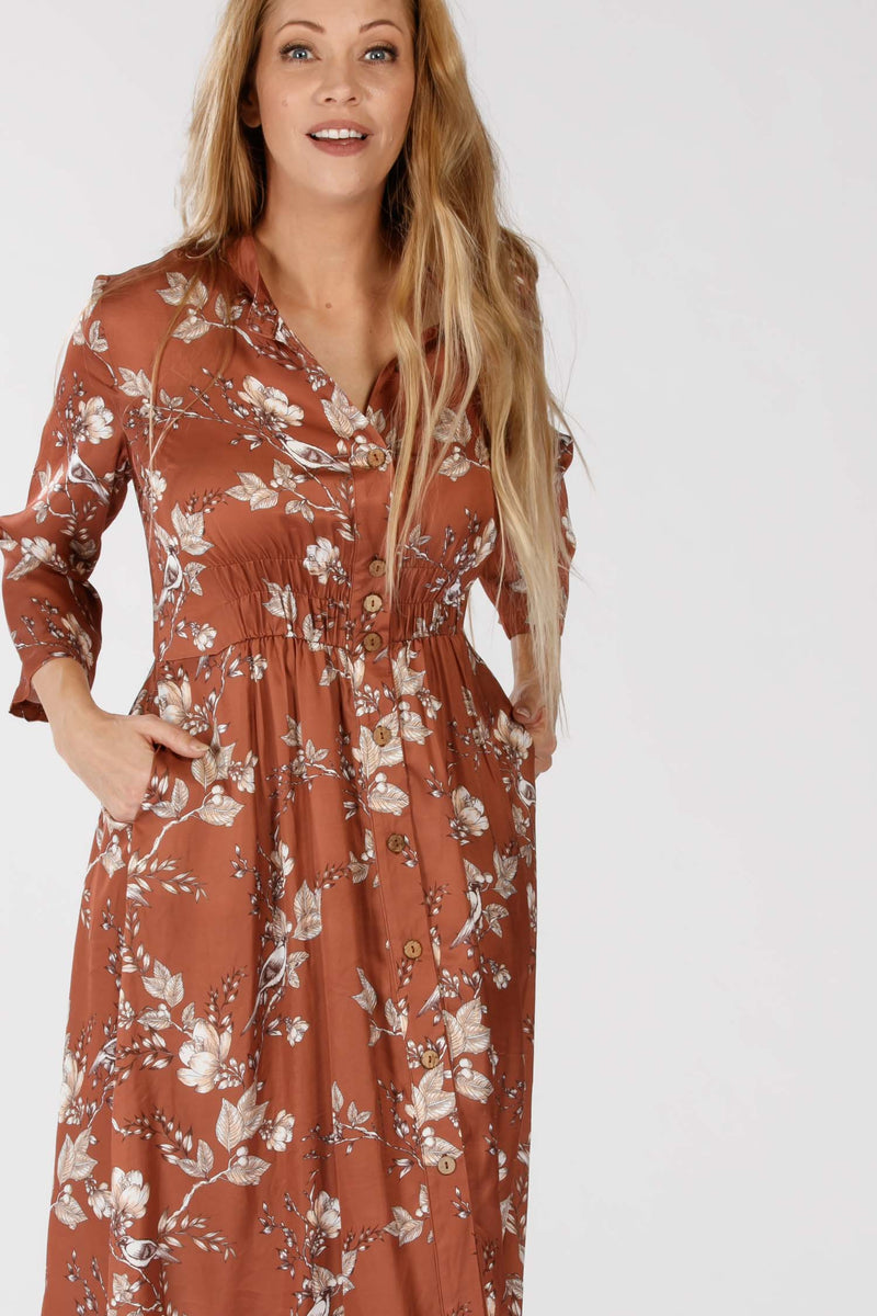 Melika button up dress - Nougat