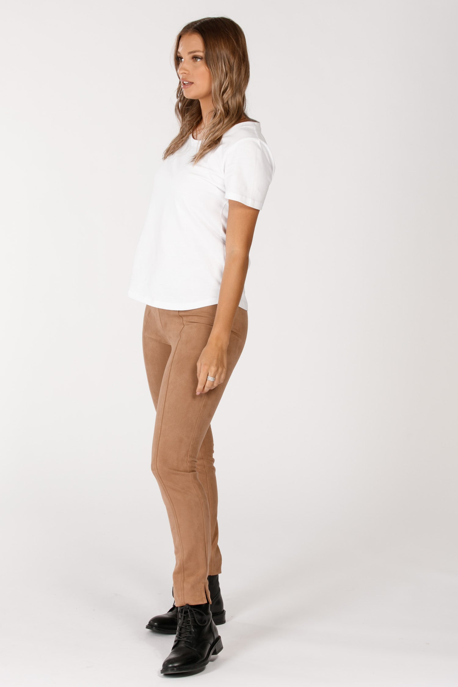 Sweet suede stretch trousers - Nougat