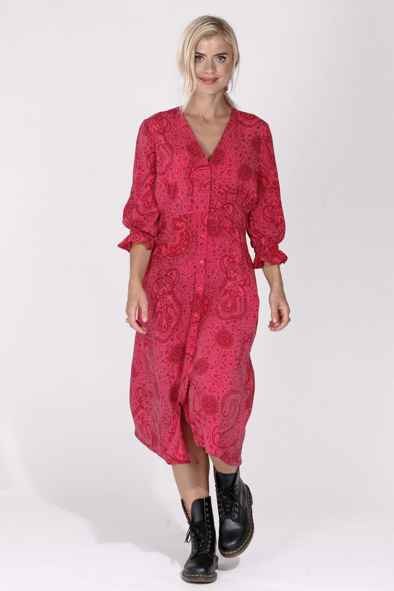 Palmira paisley midi dress - Hot Pink