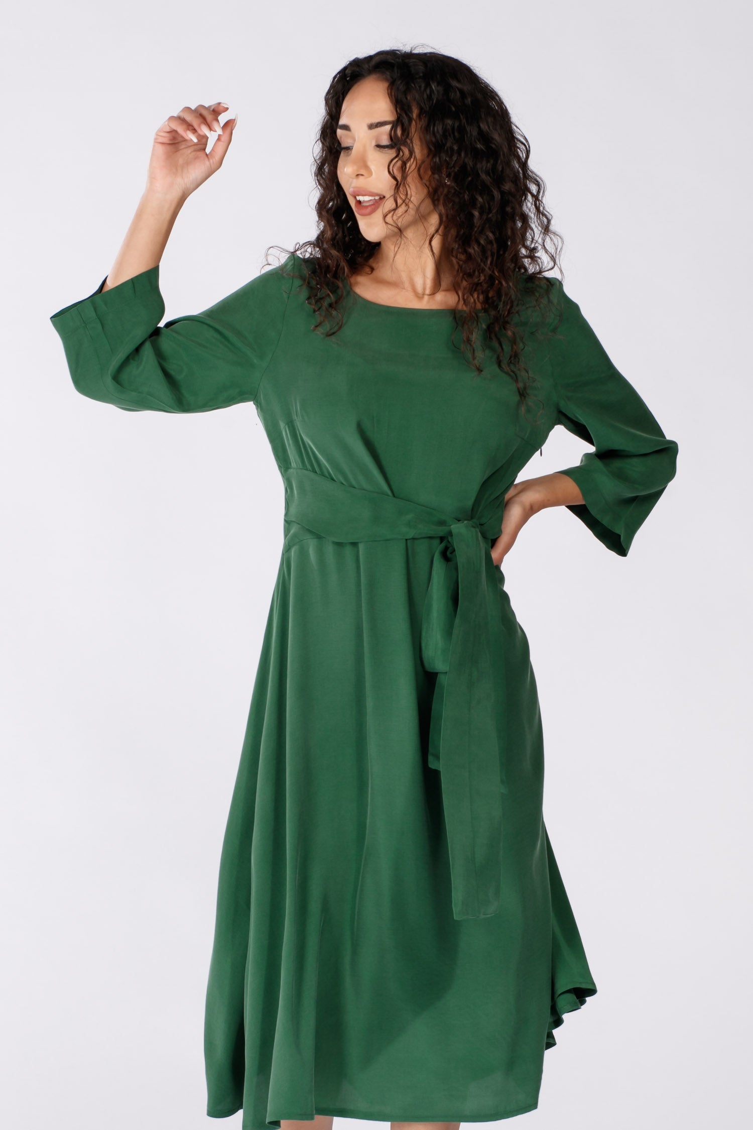 Loulou tie dress - Green