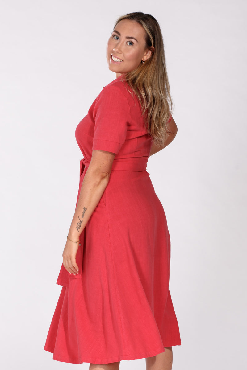 Linnea linen dress - Red