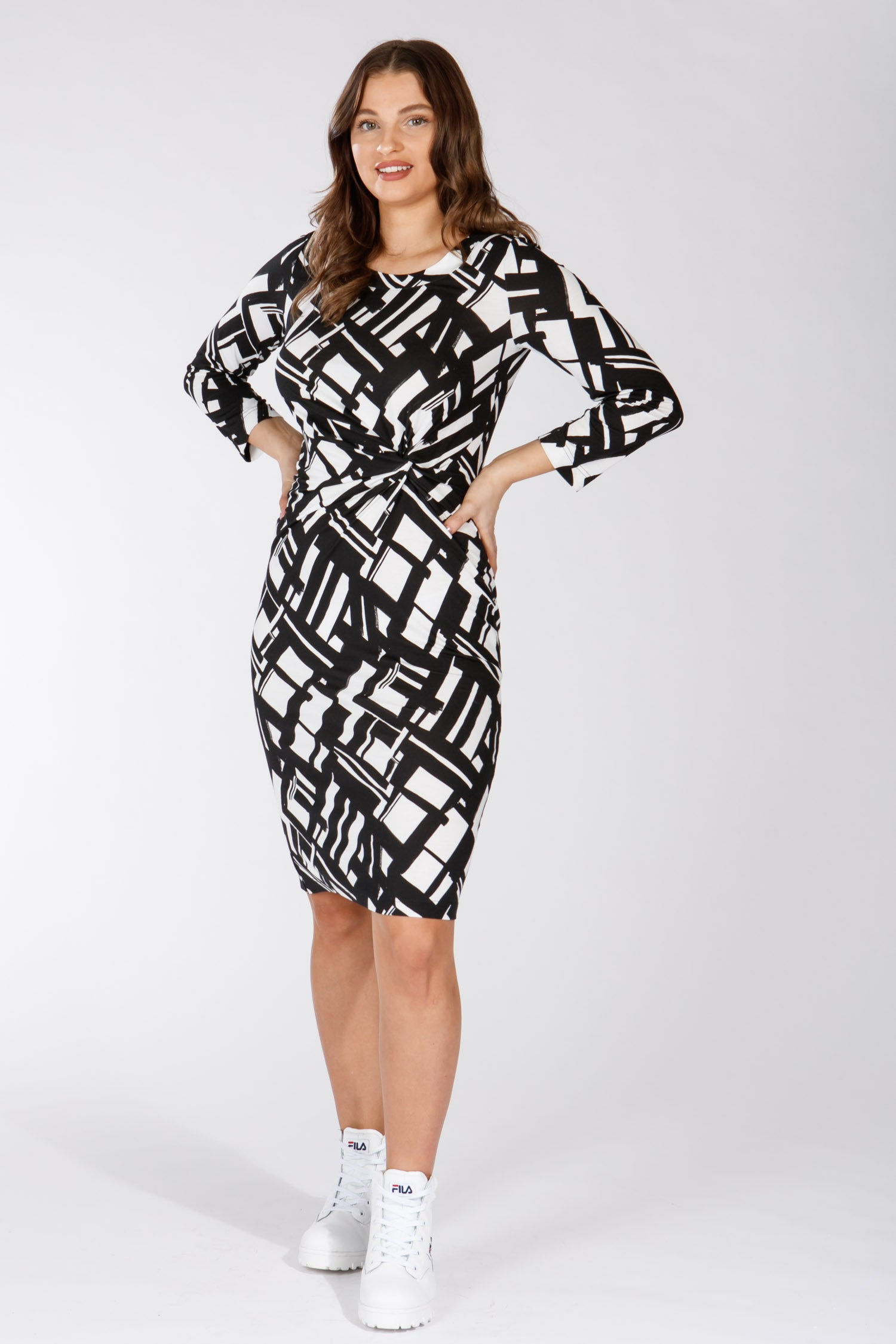 Gabrielle drape jersey dress - Black&White
