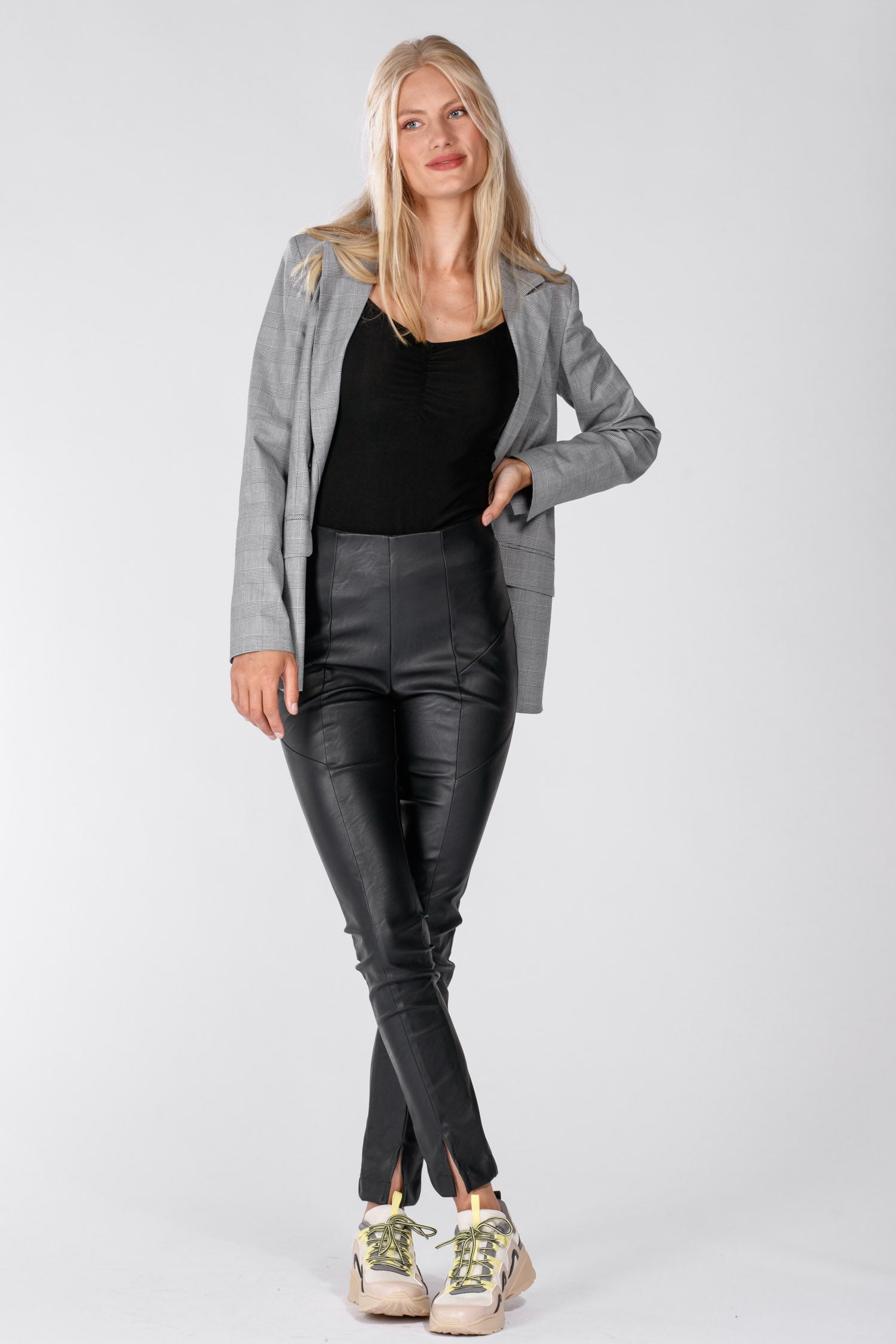 Lanya leather look tights - Black