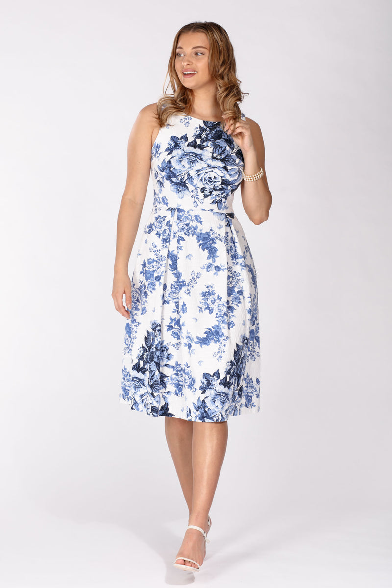 Pauline dress - White-Blue