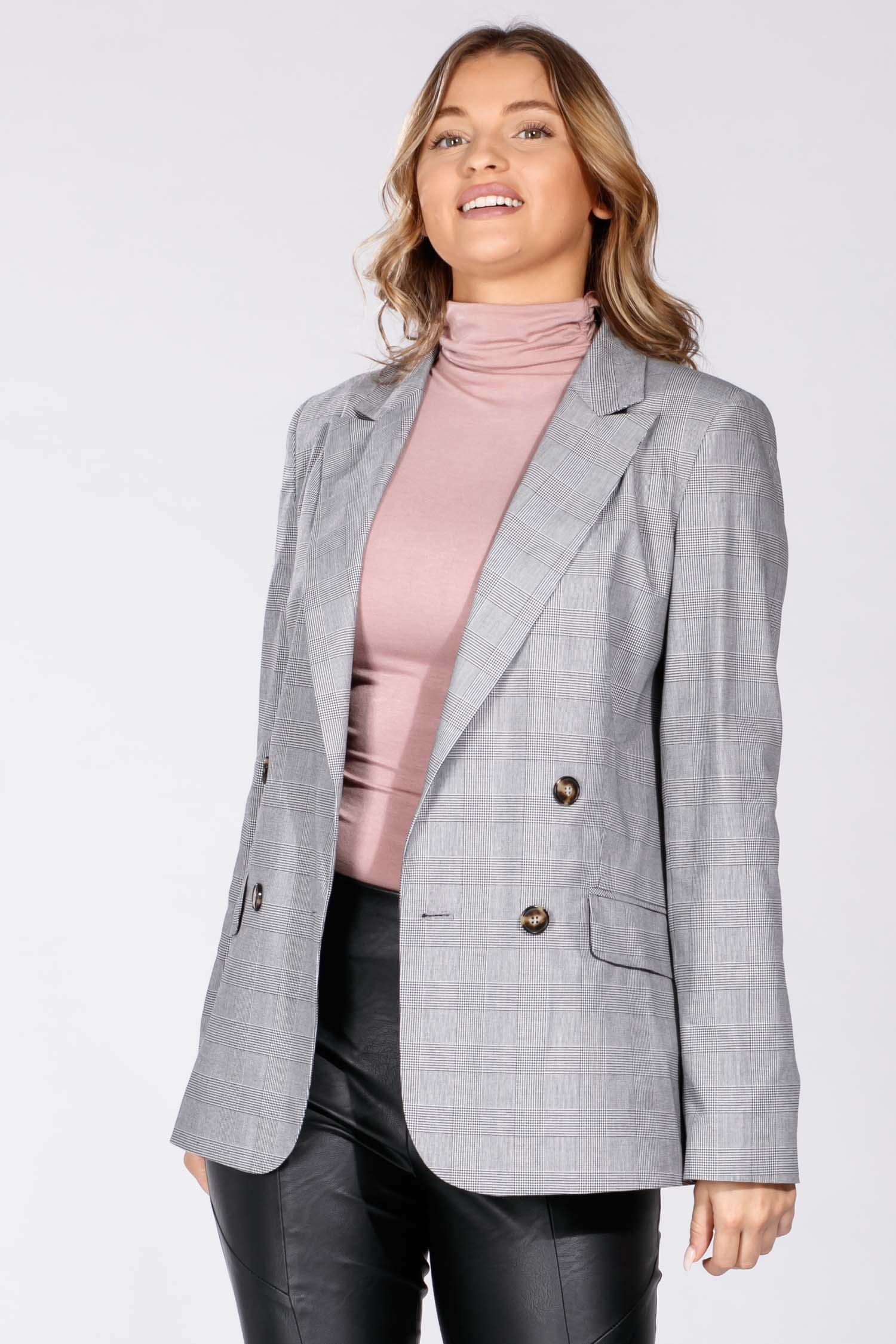 Carita checked blazer - Black
