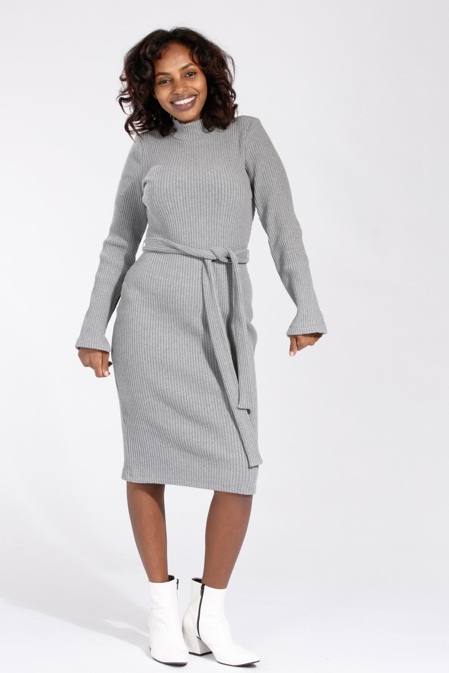 Heavy rib dress - Grey melange