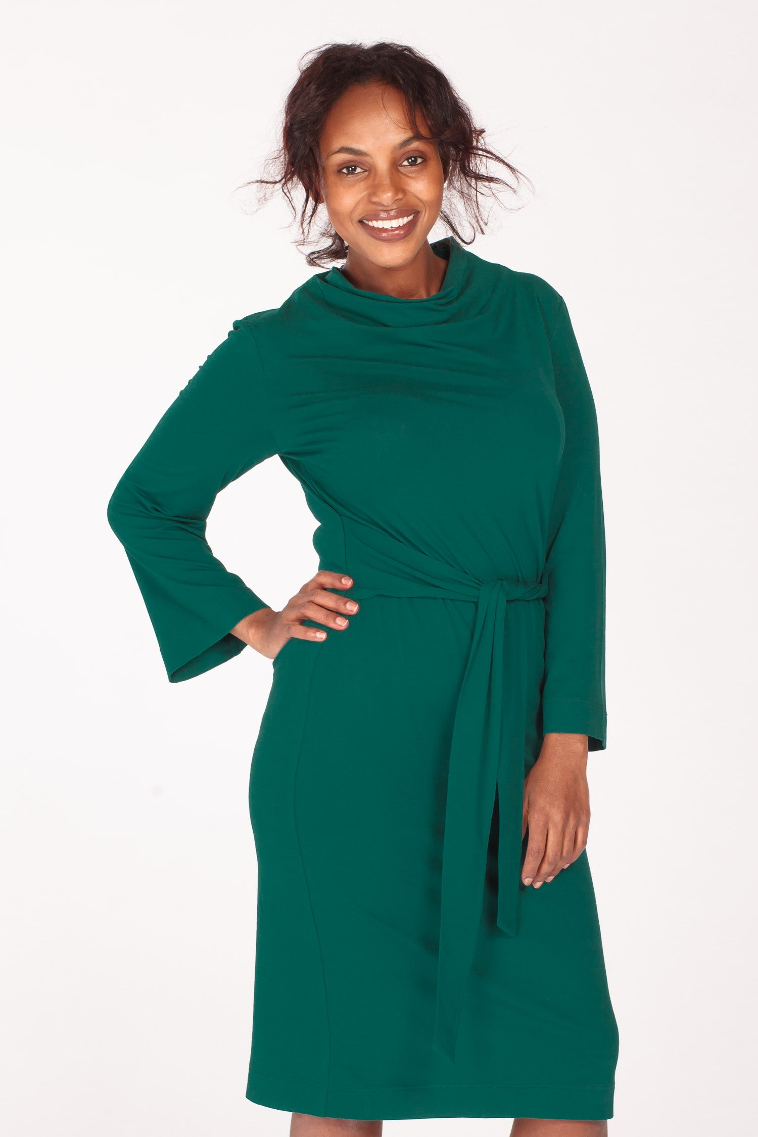 Tie me curvy jersey dress - Dark green